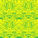 Абстрактный желтый шнурок, зеленая картина вектора муара Кривые запутанные конспектом иллюстрация вектора