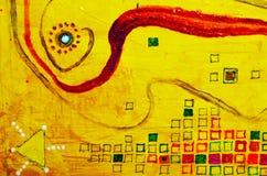 Абстрактный живописный состав Рисовать с красками масла Желтые лучи солнца, ленты, звезды, центр Стоковое фото RF