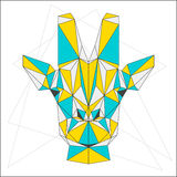 Абстрактный жираф смешанные синь, желтый цвет и серый цвет покрасили портрет полигонального треугольника геометрический на белой  иллюстрация штока