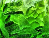Абстрактный зеленый льдед с пузырями Стоковая Фотография
