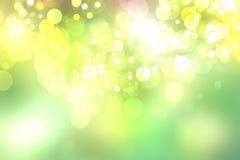 Абстрактный зеленый свет и желтая красочная предпосылка bokeh лета Стоковое Изображение
