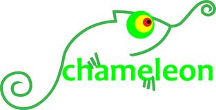 Абстрактный зеленый хамелеон с логотипом дела ящерицы надписи Стоковое Изображение