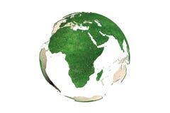 Абстрактный зеленый травянистый глобус земли (Африка) Стоковое Изображение RF