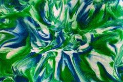 Абстрактный зеленый цвет, синь и белизна переплели завихрянное и запачканное Desig Стоковая Фотография