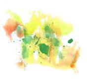 Абстрактный зеленый цвет щетки акварели чернил хода чертежа, желтая вода Стоковые Изображения