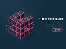 Абстрактный значок цифровых кубов, концепция компиляции продукта программного обеспечения, равновеликого вектора Стоковые Фотографии RF