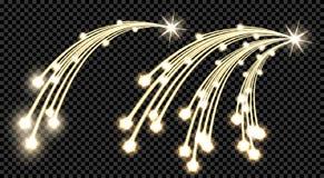 Абстрактный золотой элемент дизайна 2 волн с блеском и световой эффект на предпосылке контролера Комета с 3 кабелями, a Стоковое Изображение RF