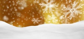 Абстрактный золотой ландшафт зимы панорамы предпосылки с падая снежинками Стоковые Изображения