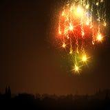 Абстрактный золотой метеорный поток - след падающих звезд фейерверка Стоковые Фото
