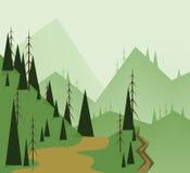 Абстрактный дизайн ландшафта с зелеными деревьями, холмами, дорогой и бездной, плоским стилем Стоковые Фото