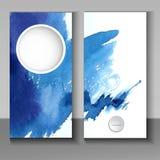 Абстрактный дизайн брошюры стиля акварели в сини иллюстрация штока