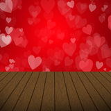 Абстрактный дизайн дня валентинки пузыри сердца с деревянной предпосылкой Стоковые Изображения RF
