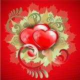 Абстрактный дизайн с 2 сердцами Стоковая Фотография