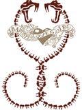 Абстрактный дизайн татуировки змейки сердца Стоковое фото RF