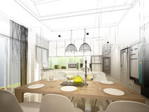 Абстрактный дизайн эскиза обедать интерьера и комнаты кухни, 3d иллюстрация штока