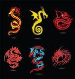Абстрактный изолированный комплект символов дракона вероисповедания Стоковые Изображения