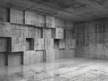 Абстрактный интерьер бетона 3d с кубами Стоковая Фотография