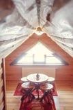 Абстрактный интерьер спальни нерезкости для предпосылки - винтажного фильтра Стоковые Фото