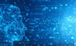Абстрактный искусственный интеллект Предпосылка сети технологии План человеческой головы с бинарными кодами иллюстрация вектора