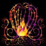 Абстрактный кактус на огне 1 Стоковое Изображение RF
