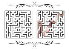абстрактный квадрат лабиринта малыши игры Головоломка для детей Один вход, один выход Головоломка лабиринта Плоская иллюстрация в иллюстрация штока