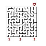 абстрактный квадрат лабиринта малыши игры Головоломка для детей Найдите правый путь к сердцу Головоломка лабиринта Плоский вектор иллюстрация вектора