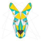 Абстрактный кенгуру Смешанные синь, желтый цвет и серый цвет покрасили портрет полигонального треугольника геометрический на бели иллюстрация вектора