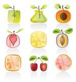 абстрактный комплект иконы плодоовощ Стоковое Изображение