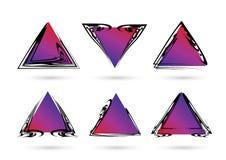 абстрактный комплект рамки Абстрактные рамки с треугольниками градиента цвета геометрические формы иллюстрация вектора