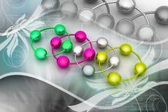 абстрактный комплект молекулы иконы Стоковая Фотография