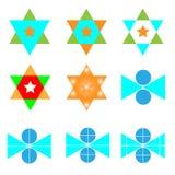 Абстрактный комплект логотипа вектора круг с значками логотипа треугольника и звезды Стоковая Фотография