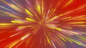 Абстрактный космический, футуристический тоннель, гипер скачка в галактику, неон накаляя, 3d скорости света представляет иллюстрация штока
