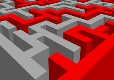 Абстрактный красно-серый лабиринт Стоковые Фото