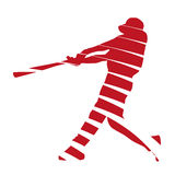 Абстрактный красный бейсболист Стоковая Фотография RF