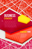Абстрактный красный плакат с предпосылкой треугольника Стоковое фото RF