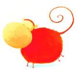 абстрактный красный цвет обезьяны Стоковые Изображения