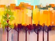 Абстрактный красочный ландшафт картины маслом Стоковое Изображение