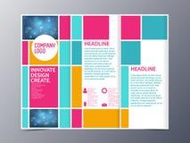 Абстрактный красочный вектор шаблона дизайна брошюры trifold Стоковое Фото
