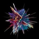 Абстрактный красочный взрыв изолированный на черноте иллюстрация штока