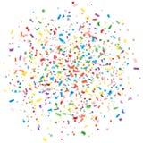 Абстрактный красочный взрыв confetti, изолированной белой предпосылки Праздник, предпосылка партии Пестротканый confetti Стоковое фото RF