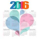 Абстрактный красочный календарь 2016 вектор Стоковая Фотография