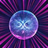 Абстрактный красочный шарик энергии безграничности в пестротканые лучи света иллюстрация штока