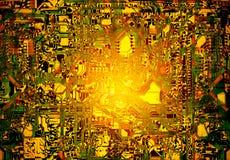 Абстрактный красочный grunge радиотехнической схемы для предпосылки Стоковые Изображения