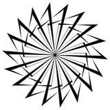 Абстрактный круговой геометрический элемент с радиальными линиями Distorted излучая абстрактную форму Monochrome декоративный эле Стоковые Изображения RF