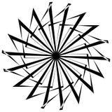 Абстрактный круговой геометрический элемент с радиальными линиями Distorted излучая абстрактную форму Monochrome декоративный эле Стоковые Изображения
