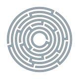 Абстрактный круговой лабиринт лабиринта с входом и иллюстрация выхода a плоская на белой предпосылке головоломка для логического  иллюстрация штока