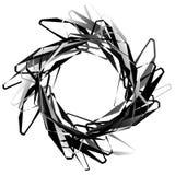 Абстрактный круговой элемент с случайными формами Monochrome geometr Стоковое Изображение