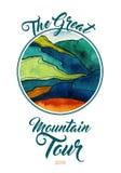 Абстрактный ландшафт вектора горы акварели Альпинизм акварели путешествуя шаблон искусства иллюстрации Зеленая голубая крайность иллюстрация штока