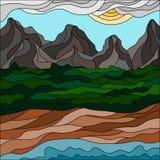 Абстрактный ландшафт горы в стиле мозаики смогите конструктор каждый вектор оригиналов предмета evgeniy графиков независимый kote иллюстрация вектора
