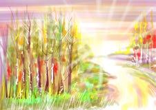 Абстрактный ландшафт лета с лучами солнца Стоковое Изображение